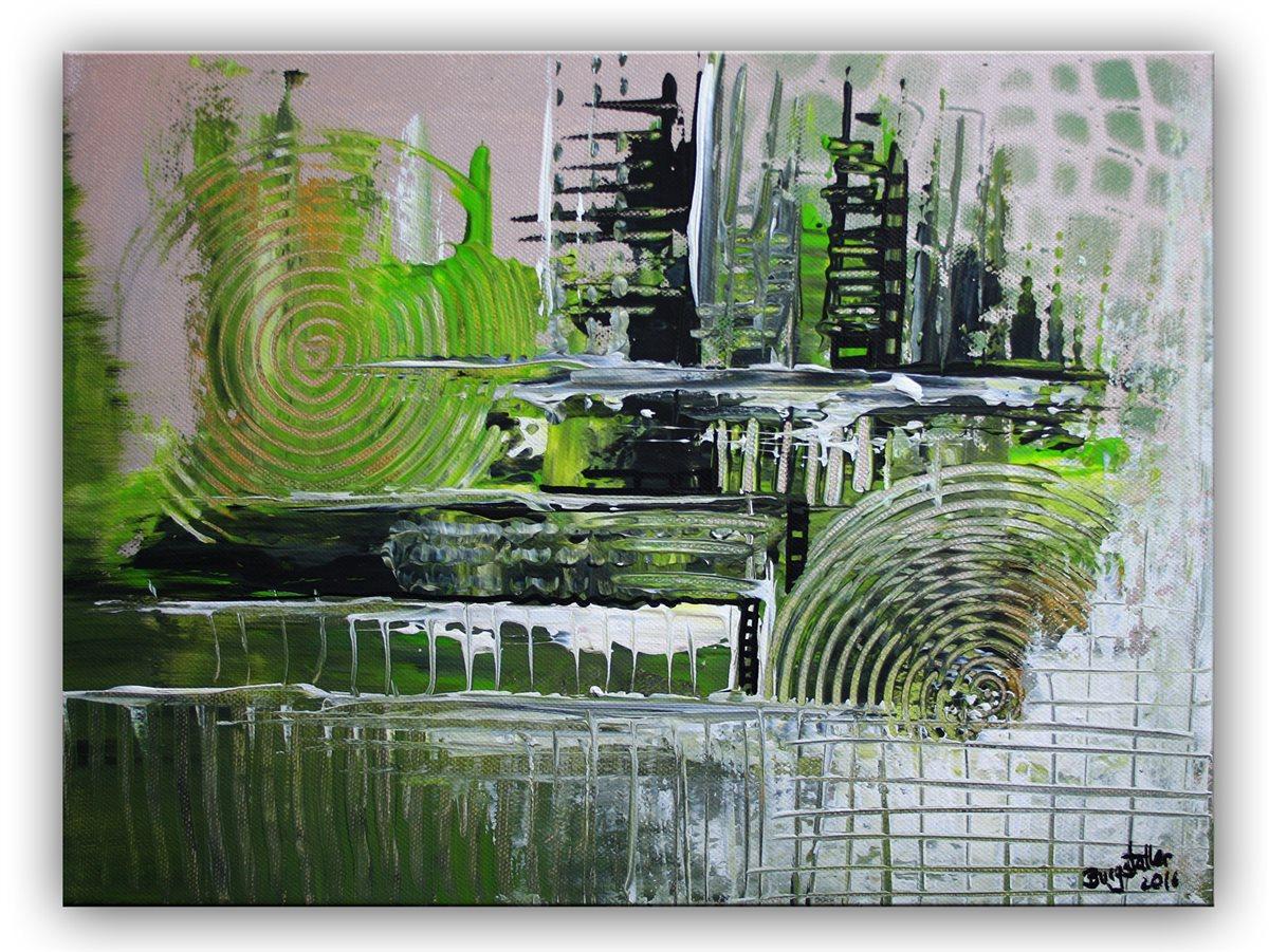 burgstaller acrylbild gem lde gr n grau silber handgemalt abstrakte malerei bild ebay. Black Bedroom Furniture Sets. Home Design Ideas