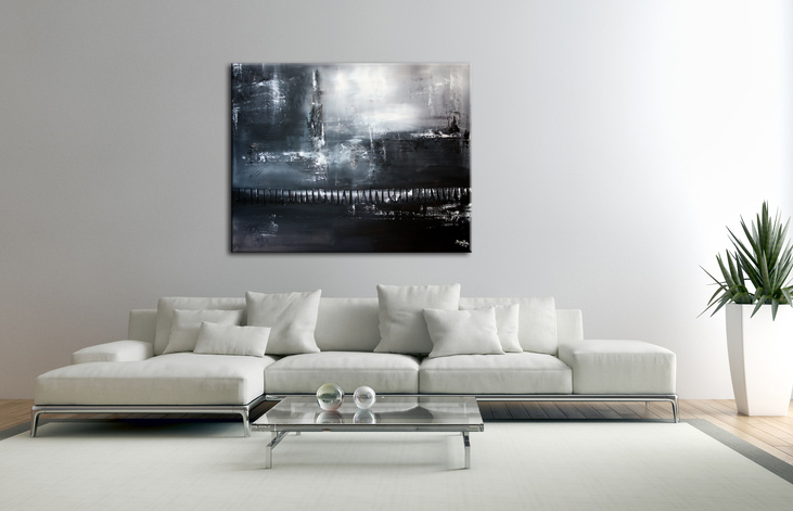 burgstaller original gem lde abstrakt grau schwarz wei acrylbild. Black Bedroom Furniture Sets. Home Design Ideas