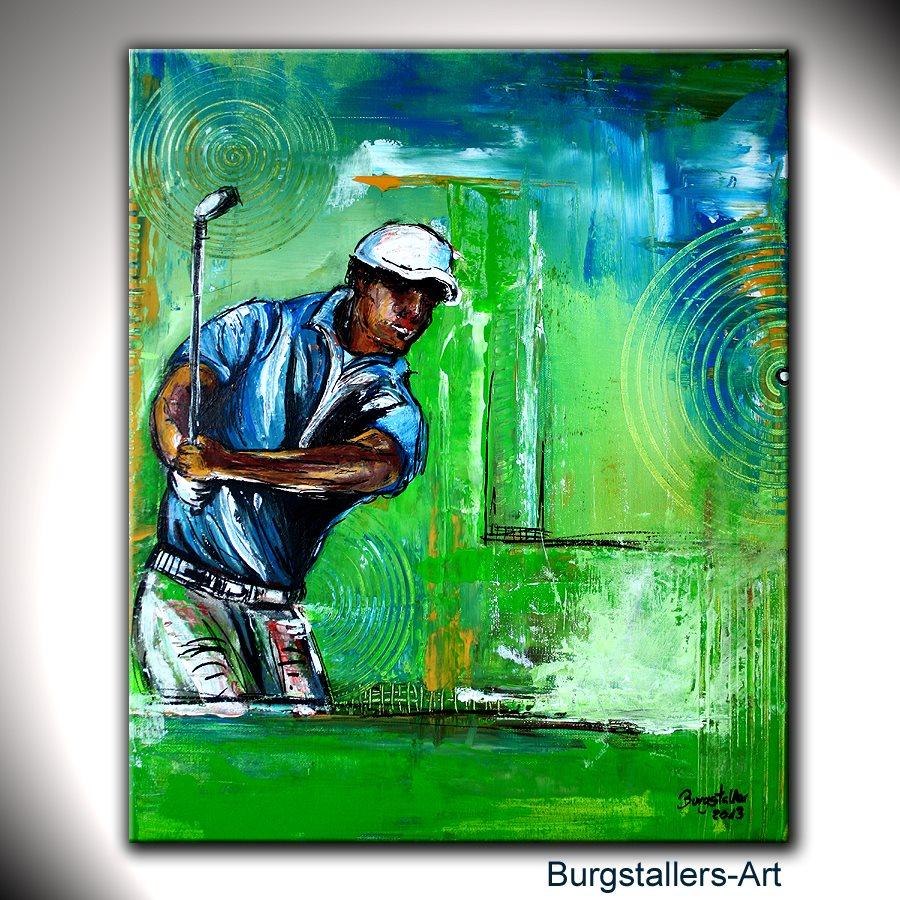 burgstaller original gem lde bild kunst malerei unikat abstrakt golfspieler 2 ebay. Black Bedroom Furniture Sets. Home Design Ideas
