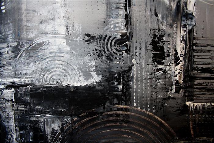 gem lde abstrakt grau schwarz wei kunst bilder acryl myst ebay. Black Bedroom Furniture Sets. Home Design Ideas