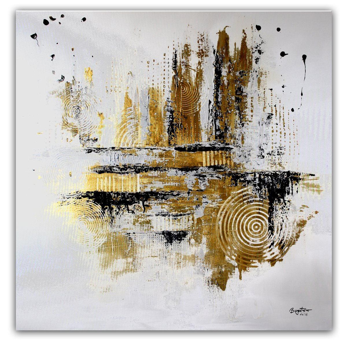 burgstaller abstrakte malerei original gem lde 100x100 moderne kunst silber gold ebay. Black Bedroom Furniture Sets. Home Design Ideas